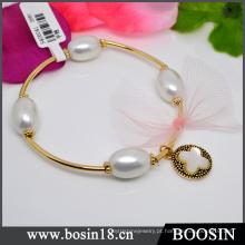 Novo Design Pessoal de Cobre Dourado Expansível Charm Bracelet Bangle # 31470