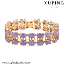 74467-mode luxe Big CZ strass imitation bijoux bracelet pour mariage plaqué avec 18k or