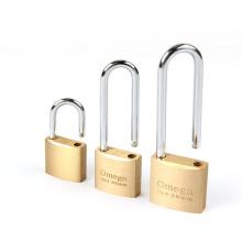 56mm Weatherproof extra shackle long shank warehouse brass padlock safety u shaped brass padlocks for gates