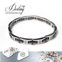 Destino joias cristais de Swarovski Titanium pulseira de aço