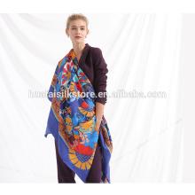 Oversized personalizada de seda bufanda de la pantalla de impresión mujeres cuello bufanda chales