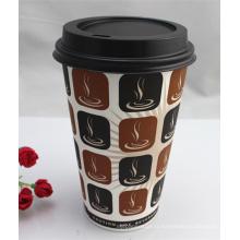 Tasse jetable de papier de café de mur de 16oz jetable avec des couvercles / couverture