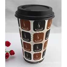 16oz Disposable Single Wall Coffee Paper Cup with Lids/Cover