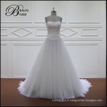 Perles dentelle A-ligne robes de mariée en mousseline de soie