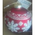 Boule de verre assortie de Noël avec décalque de cerf rouge et blanc