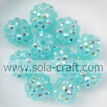 Turquoise AB Color Acrylic Resin Rhinestones 10*12MM Spacer beads