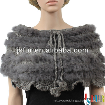 2013 new product elegance real rabbit fur and wool knitted rabbit fur shawl
