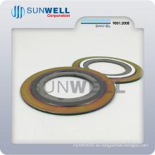 Junta espiral de grafito con anillo exterior e interior