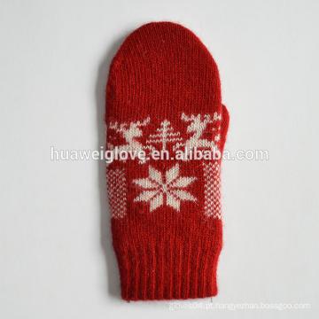 2015 moda mulheres vermelhas Acrílico malha luvas para o inverno