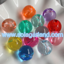 22MM Acrylic Crystal Round Bead Pendants Spacer Chunky Charms Offset Hole
