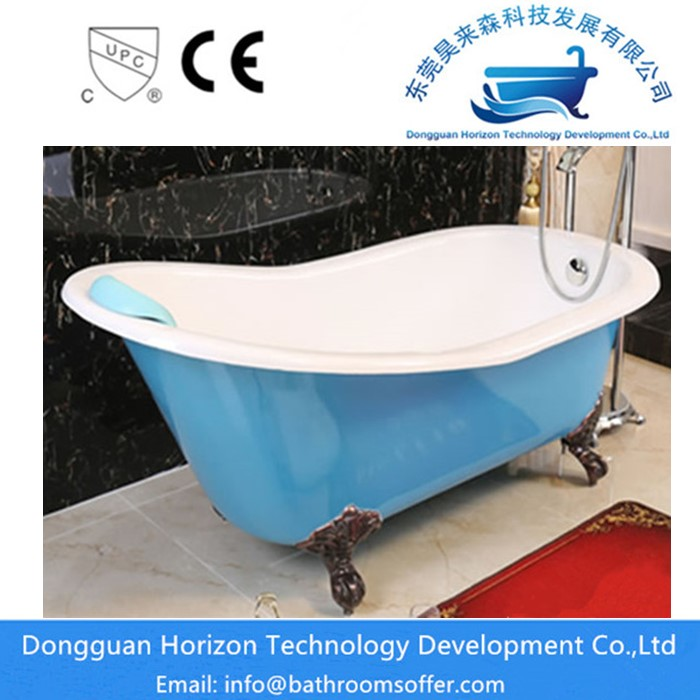 Blue Cast Iron Bathtub