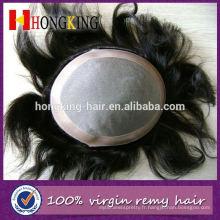 Cheveux humains indiens Mono Toupee pour les hommes noirs