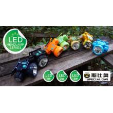 Multicolor, 1W / 2W LED faro, batería de litio recargable 1PC, vigas de gran alcance de la luz que flota la luz, pescando la luz