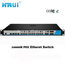 Layer3 a géré le commutateur 24 de fibre de réseau de 24 ports RJ45 avec le RJ45combo de 8 gigabit sfp avec la fonction de VLAN de SNMP de Web de 4 * 10G sfp