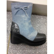 PU Leather Women Ankle Boot with Bow (S 63-2)