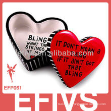 plactic sweet heart decorative jewelry box wholesale for rings