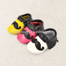 fancy design cow leather black and white moustache baby shoes with girl boy