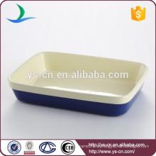 Gute Qualität rechteckige dunkelblaue Keramik-Backware für zu Hause