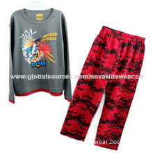 Boy's Cotton Embroidered Long-sleeved Top and Pants, OEM and ODM Orders are Welcome
