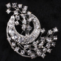 Women Dance Party Clear Rhinestone Brooches Badge Women's Exquisite Brooches Crystal