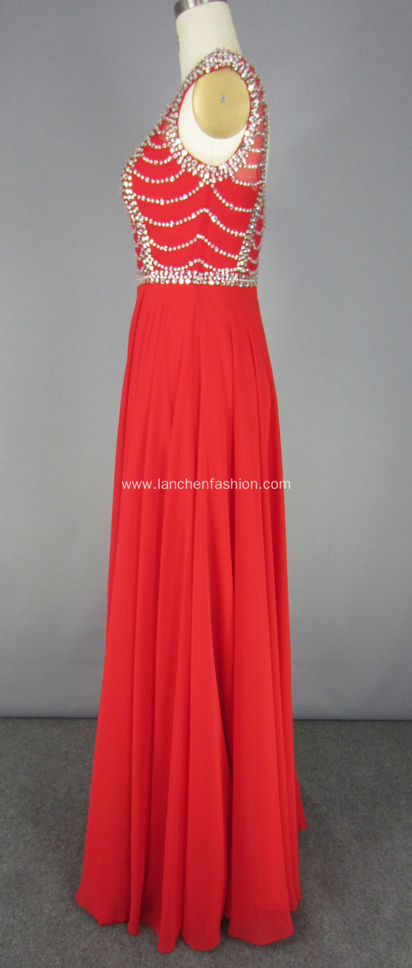 Red Long Embroidered Beading Chiffon Dress