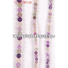 Natural purple fluorite round beads