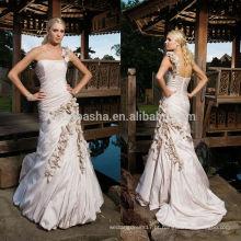 2014 Champanhe de um ombro tafetá com curvatura suavemente curvado enrugamento corpete Mermaid Zipper Vestido de casamento Vestido com flor NB0882