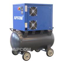 APCOM New conformation 18 cfcm 8bar 220v screw air compressor 4kw with air tank 90 liters