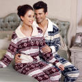 Unisex Fancy Printed Velvet Fleece Pijamas Suit