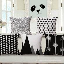 Nordic Ikea geométrica en blanco y negro de algodón y funda de almohada de lino