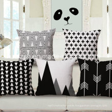 Nordic Ikea Geometric Black and White Cotton and Linen Pillow Cover