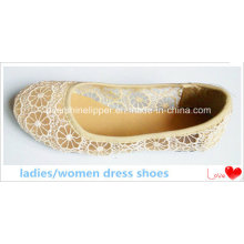 Women Dress Shoes Camel Color Fashion Hollow out Flat (DRD-027)