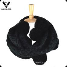 Шаблон женский Жаккардовые петли помпоном шарф