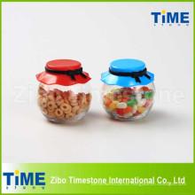 Tarro de almacenamiento de cristal del caramelo de la comida 265ml con la tapa plástica