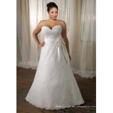 Vestido de novia de talla grande con cinta de satén de encaje con tren de barrido de una línea
