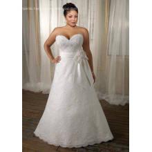 A-line Sweetheart Sweep Train Lace Satin Ribbon Plus Size Wedding Dress