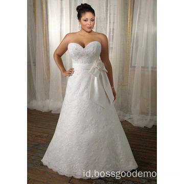 A-line Sayang Sapu Kereta Lace Satin Ribbon Plus Ukuran Wedding Dress