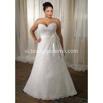 A-line Sweet yêu Sweep Train Lace Satin Ribbon Plus Size Wedding Dress