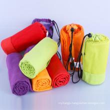 Super Absorbent Plain Dyed Custom Logo Microfiber Sport GYM Towel With Zip Pocket
