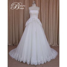 A-Line Strapless Ivory Lace Bridal Gown Wedding Dress
