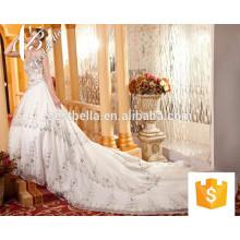 China El último vestido de boda rebordeó el vestido nupcial del Applique de las perlas 2017 El Bling Bling brillante apagó el vestido nupcial lujoso del hombro