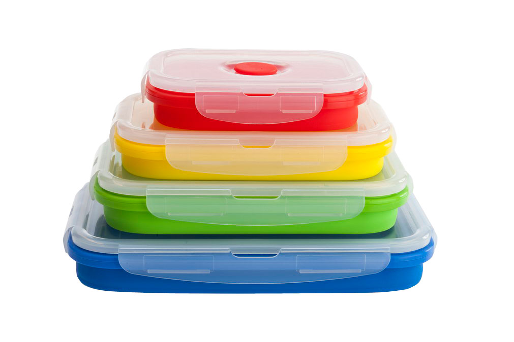 Colored Silicone Lunch Box set of 4