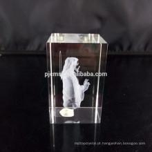 Bloco de cristal da placa da forma do coração com logotipo gravado laser 3D para lembranças