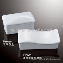 Forno de porcelana branco durável e durável segurando palito com tampa