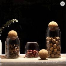 Heat Resistant Unique High Borosilicate Flint Glass Jar for Storage Decor with Circular Cork Lid