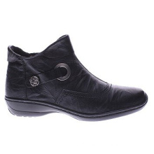 Black Hq Leather Tailored Ankle Boots for Women
