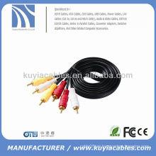 3-RCA compuesto Audio AV cable de audio macho chapado en oro M / M 6 '