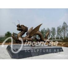 Drache-Skulptur chinesischer Drache der hohen Qualität Bronzeskulptur