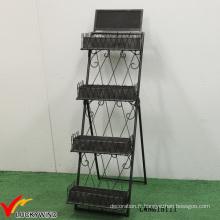 Échelle de style étagère d'affichage pliante en métal industriel