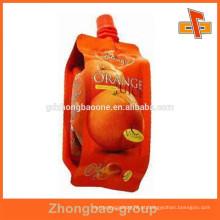 Novo design stand up bebida bolsas com bico para embalagem de suco